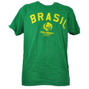 Brasil Copa America Centenario USA 2016 Tshirt Tee Green Mens Soccer Short Sleeve