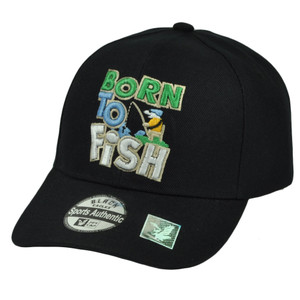 Born to Fish Fishing Camping  Adjustable Outdoors Sport Hat Cap Black Hook