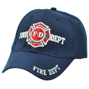 Fire Fighter Department Navy Blue Hat Cap Rescue First In Last Out Adjustable