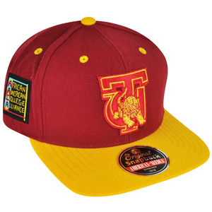 NCAA AACA American Needle Tuskegee Tigers Red Yellow Snapback Blockhead Hat Cap