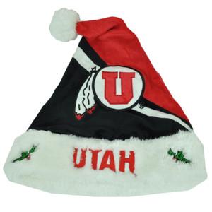 NCAA Utah Utes Santa Hat Christmas Spirit Holiday Velvet Faux Fur Red Winter Blk