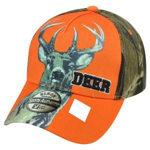 Deer Buck Two Tone Camouflage Camo Orange  Outdoor Hunting Hat Cap Camping