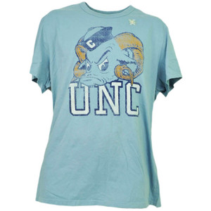 NCAA North Carolina Tar Heels Baby Blue Distressed Logo Tshirt Tee Mens Adult