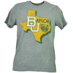 NCAA Baylor Bears State Map Logo Short Sleeve Crew Neck Gray Mens Adult Sports