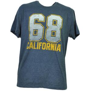 NCAA California Golden Bears Felt 68 Tshirt Tee Short Sleeve Mens Navy Blue