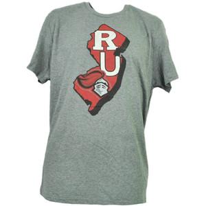 NCAA Rutgers Scarlet Knights State Map Logo Tshirt Tee Mens Adult Short Sleeve