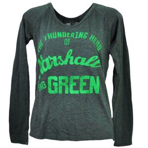 NCAA Marshall Thunder Herd Big Green Long Sleeve Womens Tshirt Tee Gray Sports