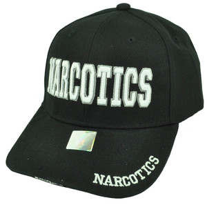 Narcotics Law Enforcement Black White Adjustable Hat Cap Curved Bill Narc Velcro
