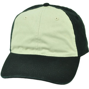 Black Beige Hat Cap Blank Plain Solid Two Tone Adjustable Relaxed Slouch Cotton