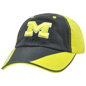 NCAA Michigan Wolverines Flip Garment Wash Sun Buckle Navy Blue Relaxed Hat  Cap 2c1d629d46a3
