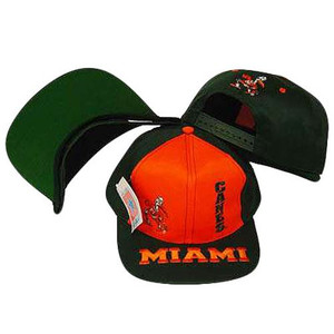NCAA MIAMI HURRICANES VINTAGE SNAP BACK FLAT BILL HAT