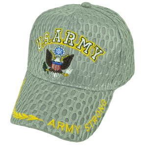 U.S Army Strong Military Breathable Gray Hat Cap Adjustable Defending Troops
