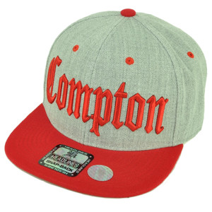 7e1e7a30fa7 City Compton Cali Los Angeles Snapback Flat Bill Brim Hat Cap Heather Gray  Red