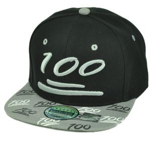 100 One Hundred Emoji Emoticons Symbol Flat Bill Hat Cap Snapback Black Gray