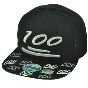 100 One Hundred Emoji Emoticons Symbol Flat Bill Hat Cap Snapback Black Text