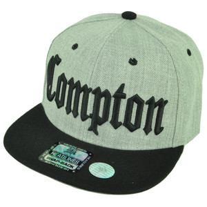 cac59504264 City Compton Cali Los Angeles Snapback Flat Bill Brim Hat Cap Heather Gray  Black
