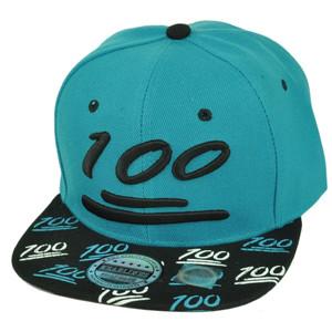 100 One Hundred Emoji Emoticons Text Flat Bill Hat Cap Snapback Turquoise Black