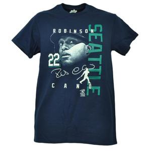 Seattle Mariners Robinson Cano 22 Player Signature Navy Tshirt Tee Short Sleeve