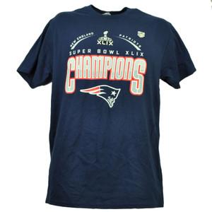 New England Patriots Super Bowl XLIX Champions Navy Blue Mens Tshirt Tee Football