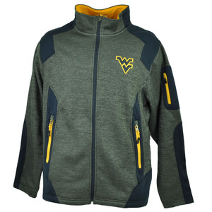 NCAA Colosseum West Virginia Mountaineers Zipper Jacket Heather Gray Mens Fleece