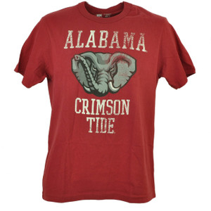 Alabama Crimson Tide Distressed Tshirt Tee Mens Short Sleeve Collage Burgundy