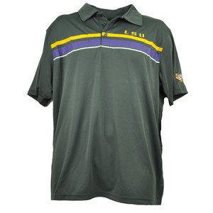 NCAA Louisiana State Geaux Tigers LSU Mens Polo Tshirt Gray Striped Football