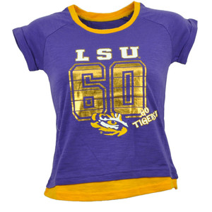 NCAA Colosseum Louisiana State Tigers LSU Youth Purple Tshirt Tee Gold Foil Logo