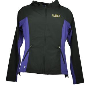 NCAA Colosseum Louisiana State Tigers LSU Womens Windbreaker Jacket Black Hoodie