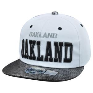 Oakland City Dark Animal Snake Skin Faux White Black Snapback Flat Bill Hat Cap