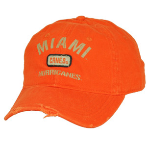 74c49085d48 NCAA Miami Hurricanes Canes Distressed Ripped Orange Hat Cap Adjustable  Relaxed