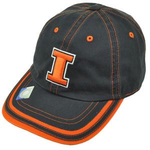 NCAA Illinois Fighting Illini Hat Cap Relaxed Slouch Platinum Garment Wash Navy