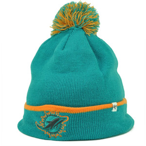 promo code b2421 64332 Miami Dolphins  47 Brand Forty Seven Cuffed Pom Pom Knit Beanie Baraka  Turquoise