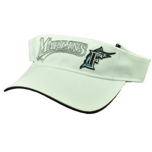 Florida Miami Marlins White Visor Sun Hat Baseball Old Logo Vintage Adjustable