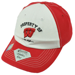 NCAA Wisconsin Badgers Est 1848 2 Tone Red White Hat Cap Ladies Cut Womens