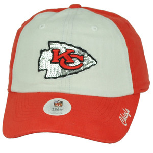 Kansas City Chiefs Sequin Logo Womens Red White Hat Cap Adjustable Relaxed KC