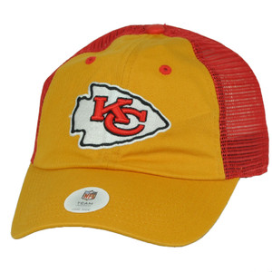Kansas City Chiefs Yellow Red Mesh Snapback Hat Cap Relaxed Curved Bill Football