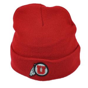 NCAA Utah Utes Cuffed Knit Beanie Red White Hat Toque 2 Tone Winter Acrylic