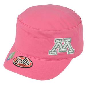 NCAA Minnesota Golden Gophers Pink Rhinestone Womens Ladies Hat Cap Cadet Gems