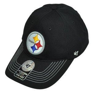 '47 Brand Pittsburgh Steelers Flex Fit One Size Hat Cap Black Game Time Stretch