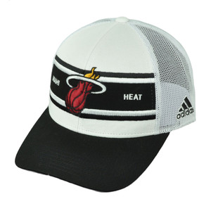 Miami Heat Adidas White Black Mesh Snapback NZM06 Hat Cap Basketball Curved Bill