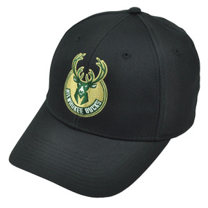 Milwaukee Bucks Black MZ034 Flex Fit Large XLarge Hat Cap Stretch Headgear