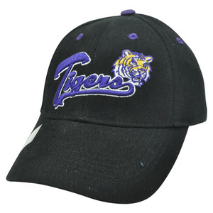Louisiana Geaux Tigers LSU Curved Bill Velcro Adjustable Script NCAA Hat Cap Blk
