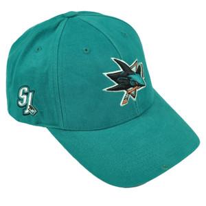 NHL San Jose Sharks SJ Adjustable Hat Cap Hockey Curved Bill Turquoise Headgear