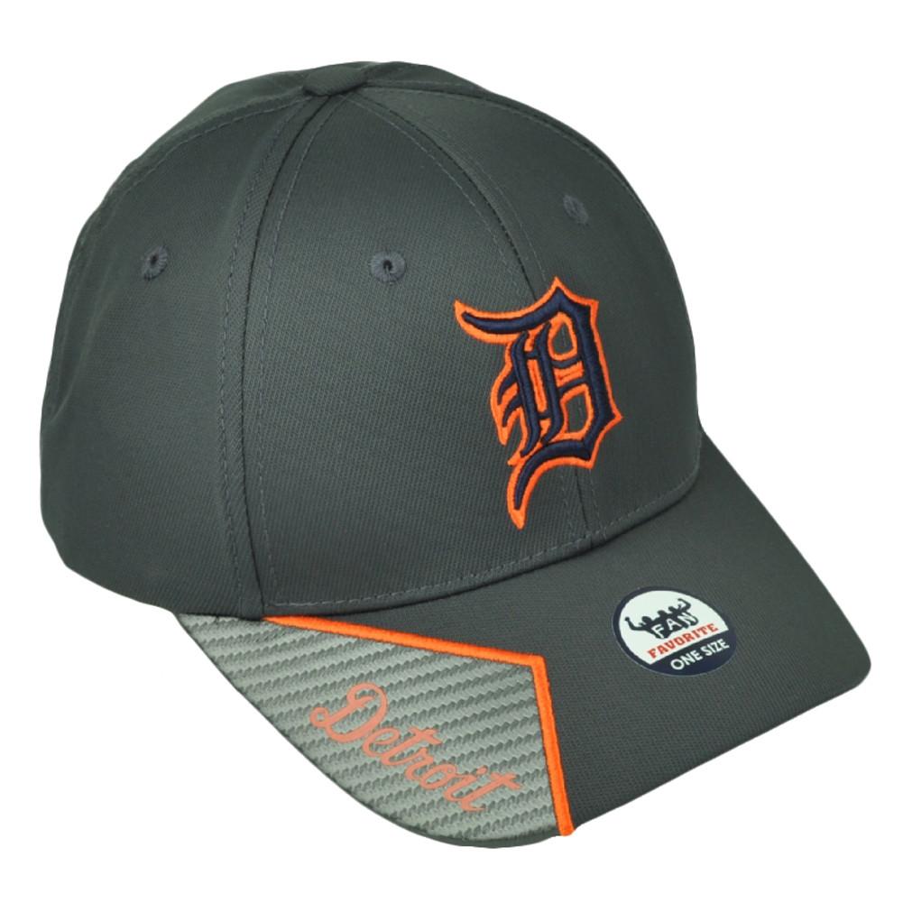 e3dfb103b21 Detroit Tigers Gray Mens Hat Cap Baseball Adjustable Script Visor ...