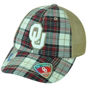 NCAA Oklahoma Sooners Avery Two Tone Plaid Trucker Snapback Adjustable Hat Cap