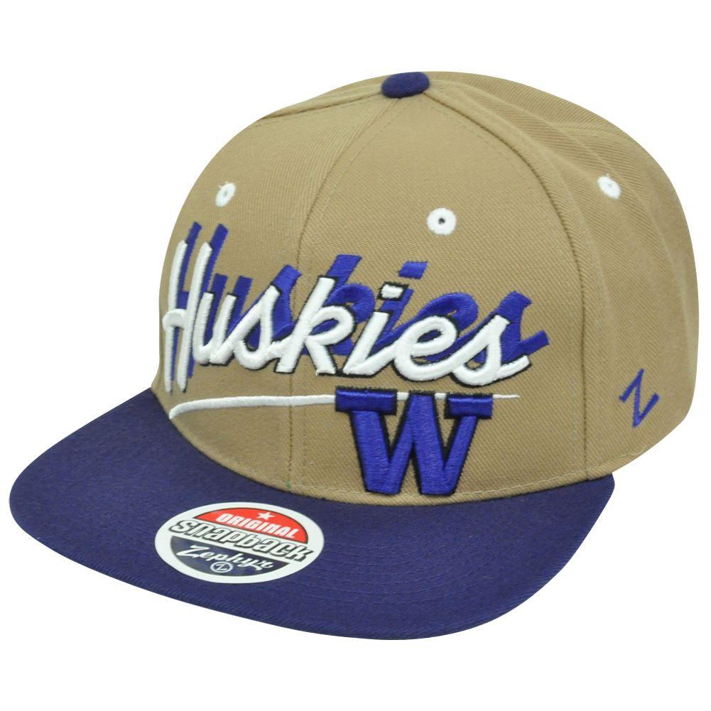 75532f168a480 NCAA Washington Huskies Zephyr Shadow Script Flat Bill Snapback Hat ...