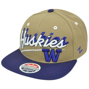 NCAA Washington Huskies Zephyr Shadow Script Flat Bill Snapback Hat Cap Two Tone