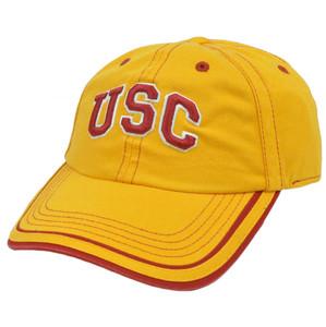 NCAA Platinum Garment Wash Hat Cap Sun Buckle Curved Southern California Trojan