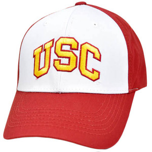 NCAA USC Southern Cali Trojans Velcro Constructed White Red Yellow Gold Hat Cap