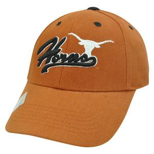 NCAA Texas Longhorn Script Curved Bill Adjustable Velcro Burnt Orange Hat Cap